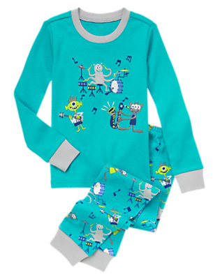 Toddler Boys E.T. Turquoise Alien Rock Two-Piece Gymmies® by Gymboree