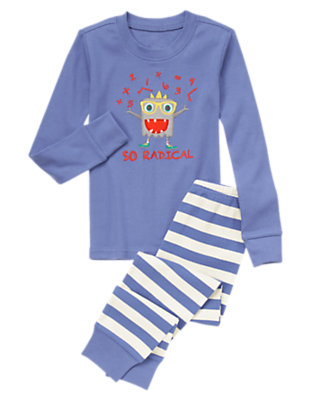 Toddler Boys Soft Indigo So Radical Monster Two-Piece Gymmies® by Gymboree