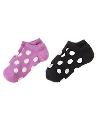 Girls Posh Purple Dotted Ankle Socks Two-Pack by Gymboree