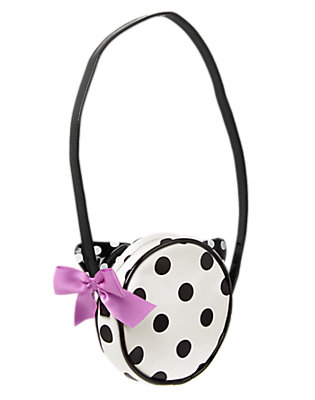 Girls White Dotted Cat Purse by Gymboree