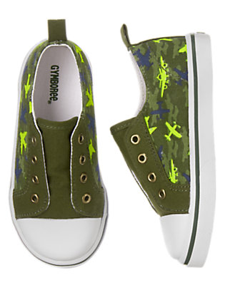 Toddler Boys Flight Suit Green Plane Camo Sneakers by Gymboree