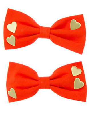 Girls Red Orange Heart Bows Two-Pack by Gymboree