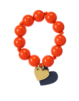 Girls Red Orange Heart Charm Beaded Bracelet by Gymboree