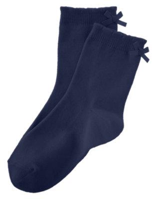 Girls Gym Navy Bow Socks by Gymboree