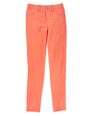 Girls Hot Coral Gem Button Jeggings by Gymboree