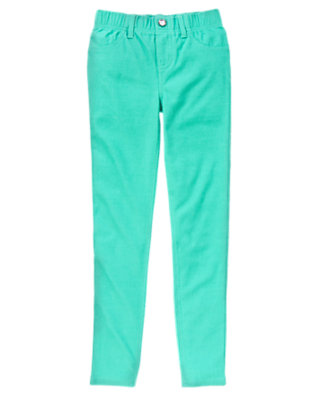 Girls Teal Splash Gem Button Jeggings by Gymboree