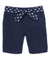 Ribbon Belt Twill Shorts