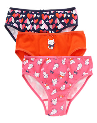 Toddler Girls Brilliant Rose Kitty Panties Three-Pack by Gymboree