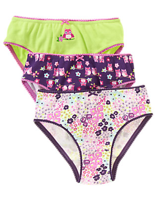 Girls Limeade Owl Panties Three-Pack by Gymboree