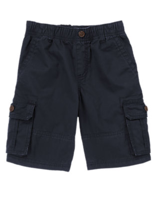 Boys Gym Navy Pull-On Cargo Shorts by Gymboree