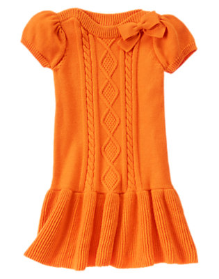Girls Pumpkin Cable Knit Sweater Dress by Gymboree