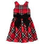Velvety Bow Plaid Dress