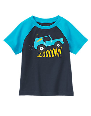 Toddler Boys Gym Navy Zoom! Raglan Short Sleeve Tee by Gymboree