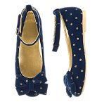 Gold Dot Velvet Flats