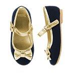 Gold Bow Velvet Flats
