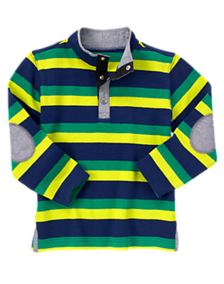 Gym Navy Stripe Elbow Patch Pullover by Gymboree
