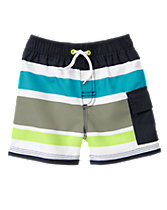 Striped Cargo Pocket Swim Shorts