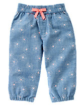 Pull-On Daisy Chambray Pants