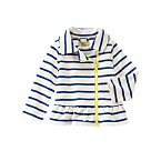 Striped Peplum Fleece Jacket