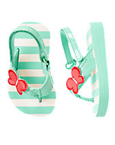 Butterfly Striped Flip Flops
