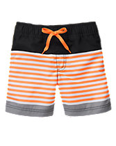 Neon Striped Swim Shorts