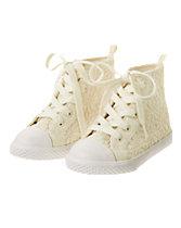 Crochet Flower Hi-Top Sneakers