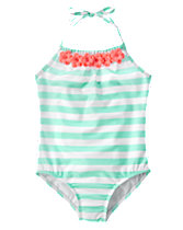Flowers Striped One-Piece Swimsuit