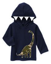 Hooded Camo Dino Tee