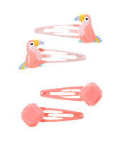 Toucan & Faceted Bead Clips Four-Pack