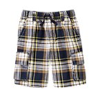 Plaid Cargo Pull-On Shorts
