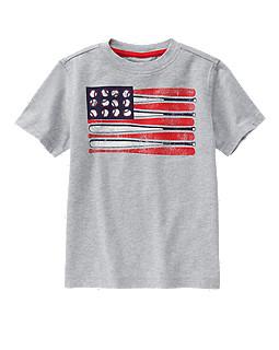 Baseball American Flag Tee
