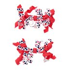 Dot Curly Ribbon Barrettes Two-Pack