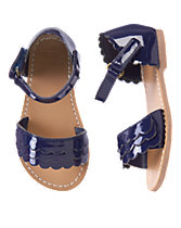 Patent Scalloped Sandals