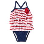 Striped Ruffle One-Piece Swim Suit