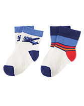 Airplane & Striped Socks Two-Pack