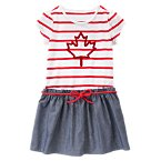 Maple Leaf Striped & Chambray Dress