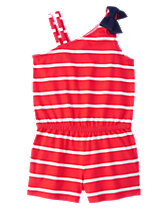 Striped One-Shoulder Romper