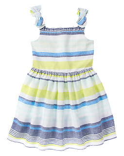 Bow Strap Striped Dress