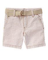 Belted Seersucker Shorts