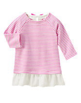 Lace-Trim Striped Dress