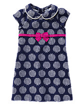 Apple Print Corduroy Dress