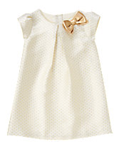 Gold Dot Jacquard Dress