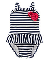 Rosette Striped One-Piece Swimsuit