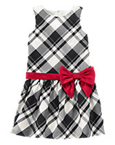 Plaid Bow Sash Dress