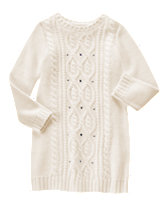 Gem Cable-Knit Sweater Dress