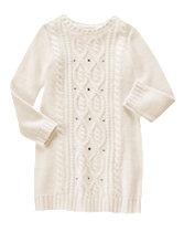 Gem Cable-Knit Sweater Dress