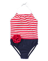 Flower Striped One-Piece Swimsuit