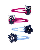 Owl & Flower Clips Four-Pack