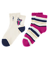 Owl & Sparkle Striped Socks Two-Pack