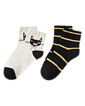 Kitten & Striped Socks Two-Pack